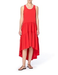 Catherine Malandrino Hildi Hi Low Sleevless Maxi Dress Red