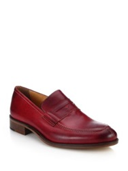 Saks Fifth Avenue Leather Penny Loafers Red
