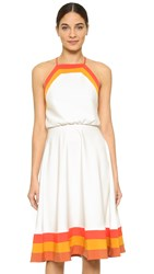 Milly Colorblock Day Dress Flame Multi