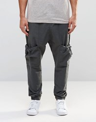 Asos Drop Crotch Linen Joggers With Cargo Pockets In Grey Smoked Pearl