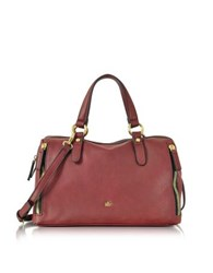Roccobarocco Large Burgundy Eco Leather Zip Satchel Bag