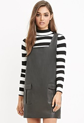 Forever 21 Square Neck Faux Leather Dress Black