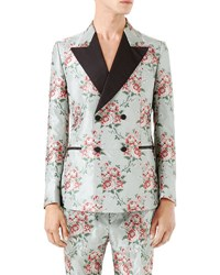 Gucci Double Breasted Floral Jacquard Sport Coat Light Blue