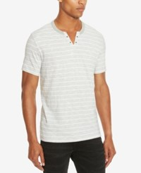 Kenneth Cole Reaction Men's Striped Eyelet Henley White