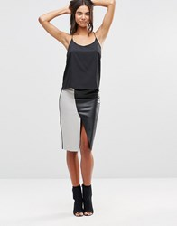 Vero Moda Wrap Faux Leather Skirt High Rise Grey