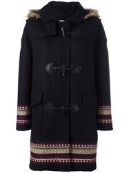 Red Valentino Hooded Duffle Coat Blue