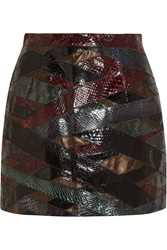 Emilio Pucci Patchwork Python And Metallic Leather Mini Skirt