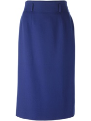 Jean Louis Scherrer Vintage Sheath Skirt Blue