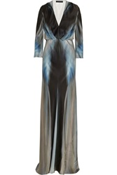 Maria Grachvogel Aditi Printed Silk Crepe De Chine Gown Gray