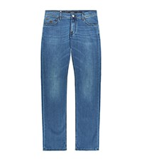 Stefano Ricci Mid Wash Straight Leg Jeans Male Blue