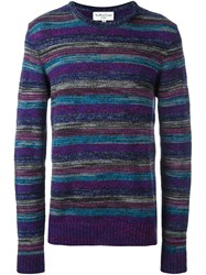 Ymc Striped Pullover Pink And Purple