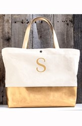 Cathy's Concepts Monogram Canvas Tote Yellow Gold S