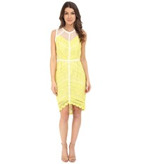 Adelyn Rae Lace Fitted High Low Dress Lemon Women's Dress Yellow