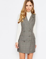 Love Double Breasted Tuxedo Dress Greypinkcheck