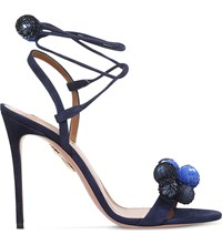 Aquazzura Disco Thing Sequin Embellished Suede Heeled Sandals Navy