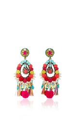 Ranjana Khan Turquoise Fringe Earrings Multi