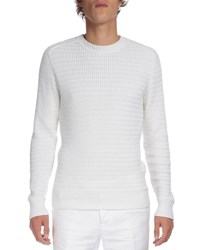 Berluti Textured Crewneck Long Sleeve Sweater White