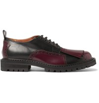 Dries Van Noten Kiltie Detailed Leather Brogues Burgundy