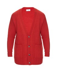 Raey Oversized Ribbed Knit Cashmere Cardigan Red