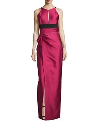 J. Mendel Halter Neck Two Tone Gown Fuchsia Pink