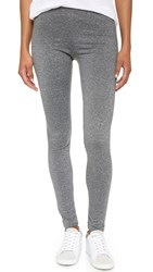 Plush Marled Fleece Lined Leggings Black White