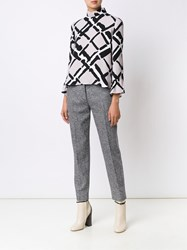 Derek Lam Printed Long Sleeve Blouse Nude And Neutrals
