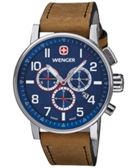 Wenger Men's Swiss Chronograph Commando Brown Leather Strap Watch 43Mm 01.1243.101