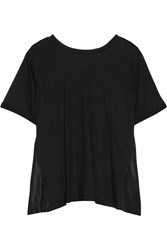 Maison Martin Margiela Open Back Cotton Jersey And Washed Satin Top Black