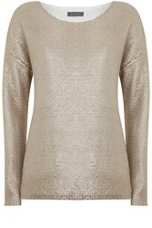 Mint Velvet Champagne Foil Print Knit Neutral