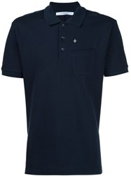 Givenchy Cross Embroidered Polo Shirt Blue