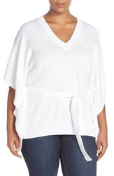 Plus Size Women's Michael Michael Kors Belted V Neck Poncho Top White