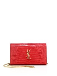 Saint Laurent Monogram Croc Embossed Leather Chain Wallet Red
