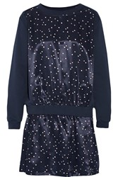 See By Chloe Cotton Terry And Printed Satin Mini Dress Blue