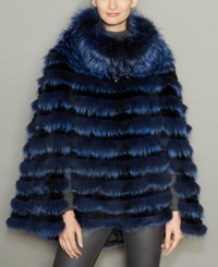 The Fur Vault Rabbit Trim Fox Poncho Navy Black