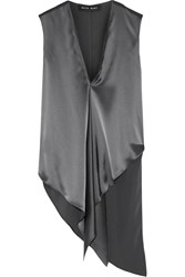 Baja East Asymmetric Satin Top Anthracite