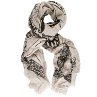 Chesca Butterfly Print Scarf Light Khaki Black