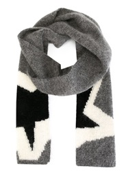 Neil Barrett Star Intarsia Scarf Grey