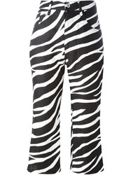 Junya Watanabe Comme Des Gara Ons Zebra Print Flared Cropped Trousers Black