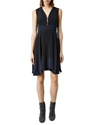 Allsaints Lake Silk Dress Midnight Black