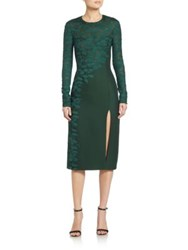 J. Mendel Asymmetrical Embroidered Lace Long Sleeve Dress Spruce