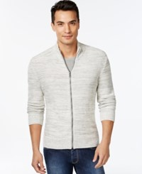 Inc International Concepts Jackson Full Zip Marled Sweater Only At Macy's Vintage White Combo