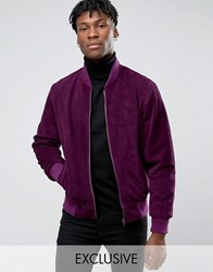 Reclaimed Vintage Suede Bomber Jacket Purple