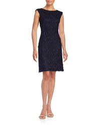 Sue Wong Floral Lace Sheath Dress Navy