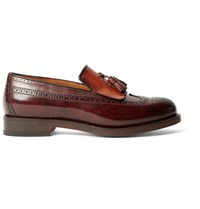 Santoni Tasselled Two Tone Leather Kiltie Loafers Brown