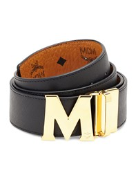 Mcm Reversible Visetos Saffiano Leather Belt White Navy Cognac Black