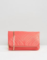 Claudia Canova Quilted Fold Over Clutch Bag Coral Orange