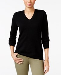 Charter Club Petite Cashmere V Neck Sweater Only At Macy's Black