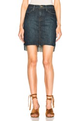 Frame Denim Staggered Mini Skirt In Blue
