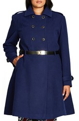 City Chic Plus Size Women's Double Agent Belted Coat Navy