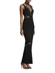 Nicholas Layered Sheer Inset Gown Black